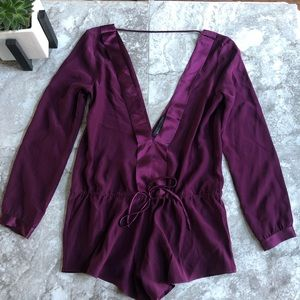 Naked Princess purple long sleeve romper lingerie